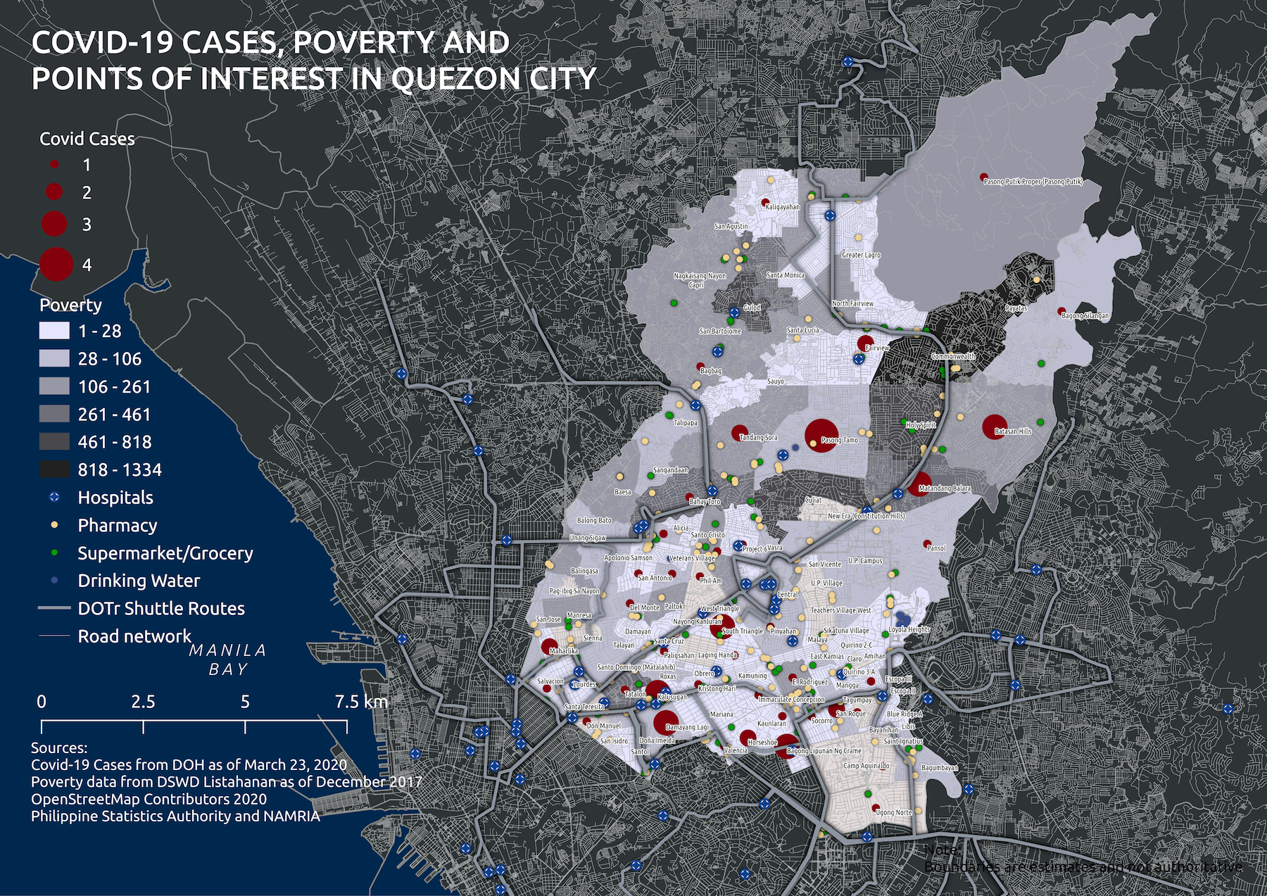 Map 2. QC Poverty and Covid Cases March 23 2020